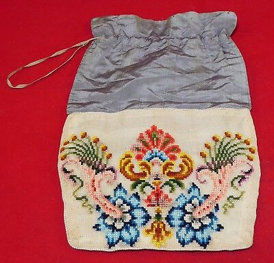 Vintage Victorian Needlepoint Embroidery Floral Reticule Bag Drawstring Purse