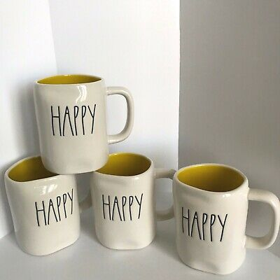 New Rae Dunn HAPPY Coffee Mug-Artisan Collection by Magenta-  Yellow Interior