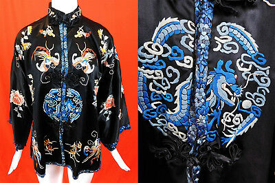 Antique Chinese Black Silk Colorful Embroidered Butterfly Blue Dragon Robe Vtg