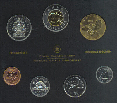 2006 Canada Specimen Set of 7 Coins Snowy Owl Dollar COA Loonie Outer Box Damage