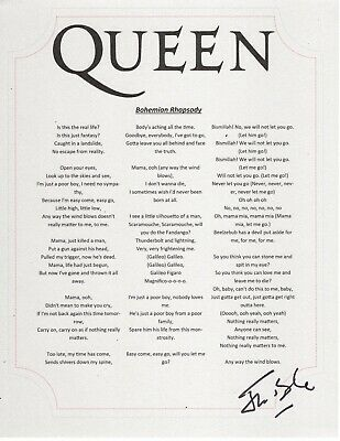 Queen Jim Beach Miami Band Manager Producer Signed Bohemian Rhapsody Lyric Sheet