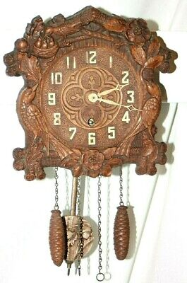 """Antique 1935 """"8 Day Quail Cuckoo Style """" Model Of Lux Syroco Wood Wall Clock"""