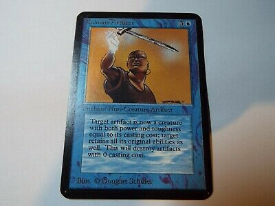 MAGIC THE GATHERING, MTG ALPHA BLUE UNCOMMON CARD ANIMATE ARTIFACT, ex-nm