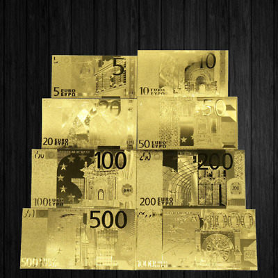 Lot de 8 Billets en Euros plaqué OR (5, 10, 20, 50, 100, 200, 500, 1000)