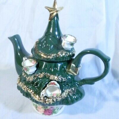 Royal Albert Old Country Roses Cardew design mini miniature Teapot ChristmasTree