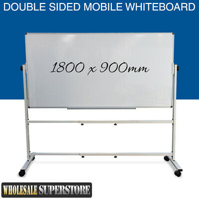 MOBILE WHITEBOARD 1800 x 900mm Magnetic Double Sided Commercial Quality + STAND
