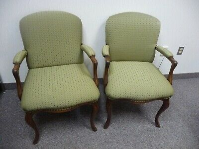 Pair ofQueen Anne Mahogany Side Chairs (Green)