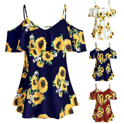 Plus Size Womens Sunflower Printed Short Sleeve Ruffles Cold Shouder Blouse Tops