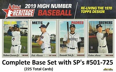 2019 Topps Heritage High Number COMPLETE BASE + SP's SET 501-725 (225) Guerrero+