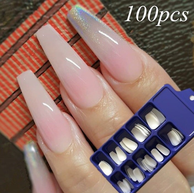 HOT 100Pcs Professional Fake Nails Long Ballerina Full French Acrylic Nail Tips