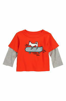 Tea NEW Red Gray Baby Boy's Size 9-12 Months Chihuahua Tee Shirt $30 #223
