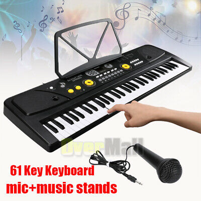 61 Key Music Electronic Keyboard Electric Digital Piano Organ+ Microphone+Stand