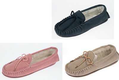 Women's Ladies Coolers Lodgemok Suede Moccasin Slippers Wool Lined Sizes 4-8