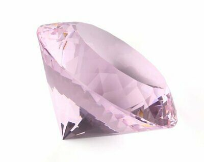 80mm K9 Pink Crystal Diamond Shape Paperweight Glass Gem Display Gift Ornament