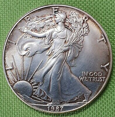 USA 1987 Silver Eagle One Dollar 1 OZ. Fine Silber Münze im Etui