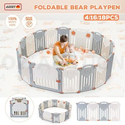 Multi Kids Baby Playpen Interactive Baby Room Safety Gates Foldable Bear ABST