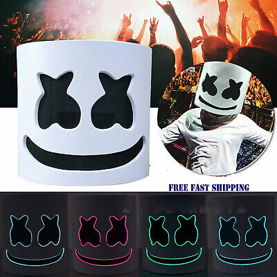 MarshMello DJ Mask Full Head Helmet LED Cosplay Mask Bar Music Prop Marshmallow#