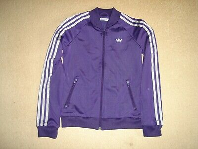 Ladies girls Adidas jacket purple & silver size 8