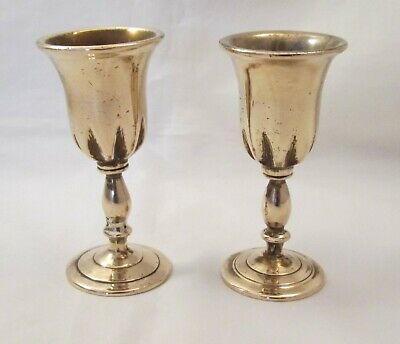 Small Rare Pair of 19th Century Brass Travelling Communion Cups