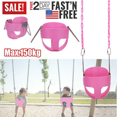 Full Bucket Swing Set for Toddler Baby Seat Playground Outdoors Play Fun Pink