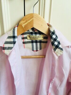 Burberry Baby Pink Fitted Shirt with nova check collar and roll cuff RRP £220