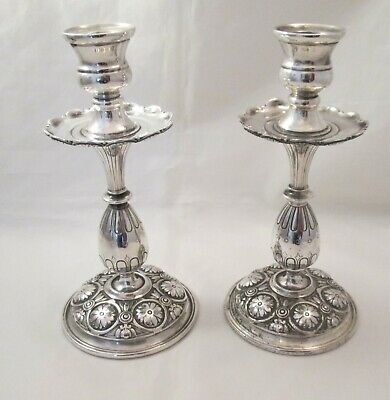 Pair of 19th Century Silver Plated Candlesticks with Drip Trays - Elkington