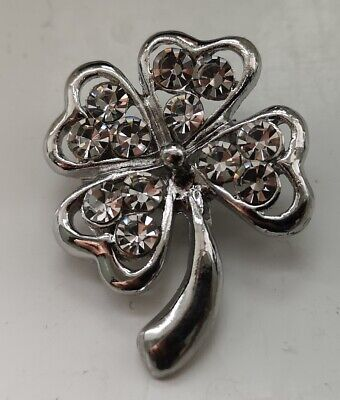 Four Leaf Clover Brooch Silver St Paddys Day Guiness Lucky Charm Ireland Wedding