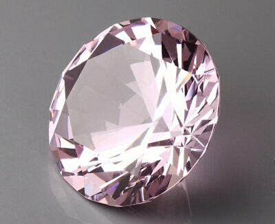 60mm Pink Crystal Diamond Shaped Paperweight Glass Gem Display Ornament Crafts