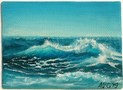 ACEO Seascape Original Realistic Painting of Waves near beach