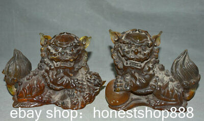 """6.8"""" Old Chinese Red Amber Feng Shui Foo Dog Lion Ball Son Sculpture Pair"""