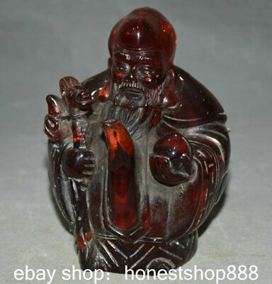 """6.8"""" Chinese Red Amber Carving Feng Shui God of longevity Peach Kettle Pot"""