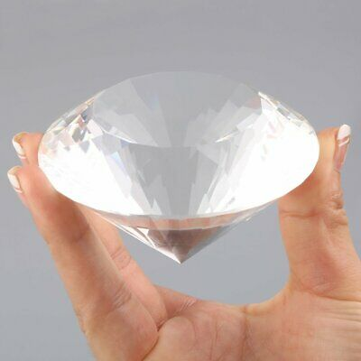 80mm Crystal Glass Paperweight Clear Diamond Shaped Gem Wedding Display Gift