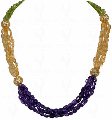 Amethyst, Citrine & Peridot Bead With White Sapphire Studded Jadau Ball Ln1027