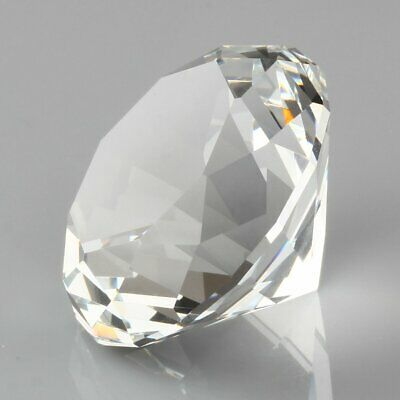 60mm Clear Crystal Paperweight Cut Glass Giant Diamond Jewel Decor Craft