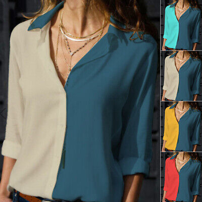 Ladies Tops Women's Blouse Holiday Tops Color Block Blouse Long Sleeve