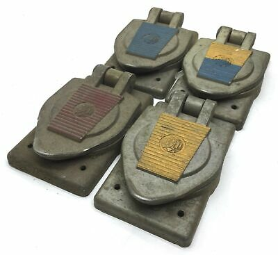Lot of 4 Hubbell Lock & Unlock Turn Socket Cover Red, Blue, Yellow, Blue/Yellow