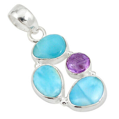 925 Sterling Silver Natural Blue Larimar Purple Amethyst Pendant Jewelry M19957