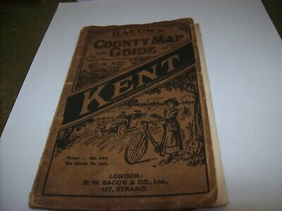 kent old 1920s bacons county map and guide vintage bikes and cars illustrated