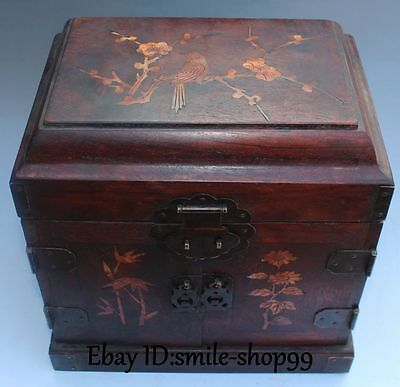 """10"""" China Huanghuali Wood Inlay Shell Magpie Plum blossom Bamboo Jewel Case Box"""