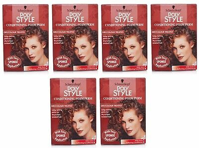 6x Schwarzkopf Poly Style Conditioning Foam Perm Dry/Coloured Hair