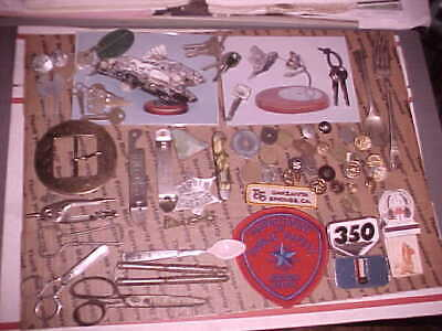 Junk Drawer Brass Military Buttons, Texas Patrol Patch, Buckle, Keys, Match Babe