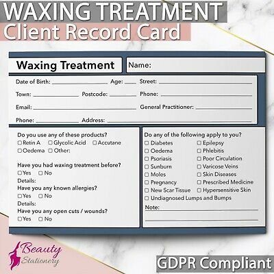 Waxing Client Record Card GDPR Compliant PREMIUM NEW Consultation Sugaring A6