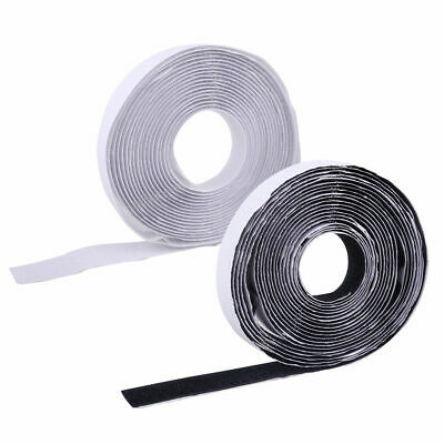 2.5m Hook and Loop Tape Fastener Sticky Backed Double Sided Strips Black - White
