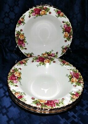 "4 Royal Albert Old Country Roses Rimmed Soup Bowls 8"" -  Free Shipping!"