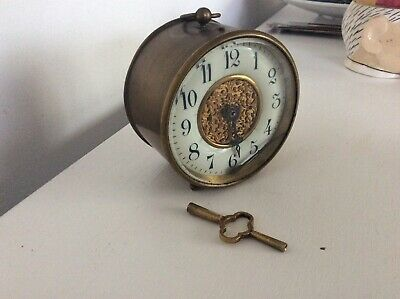 Victorian Brass Barrel Clock Working ..With Key