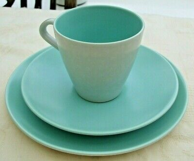Poole Pottery - Twin Tone Ice Green & Seagull C57 - Cup, Saucer & Side Plate