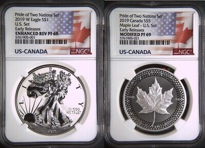 2019 PRIDE OF TWO NATIONS LIMITED EDITION 2 COIN SET, NGC PF69 ER, w/CofA