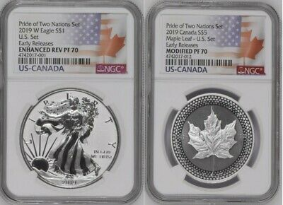 2019 PRIDE OF TWO NATIONS LIMITED EDITION 2 COIN SET, NGC PF70 ER, with CofA