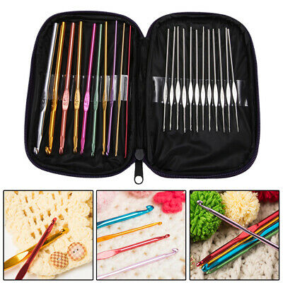 22pcs Aluminum Crochet Hooks Needles Knit Set Multi-color Weave Craft Yarn Tools