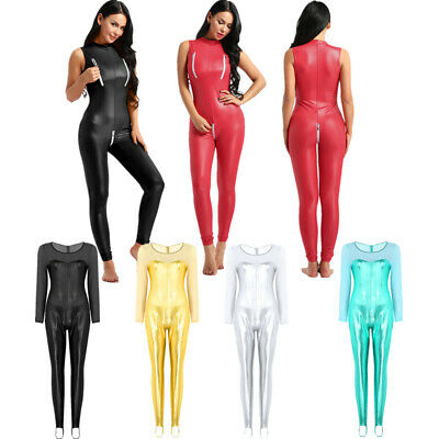 Catsuit Womens Wetlook Zipper Crotch Bodysuit Metallic Dance Tank Leotard Club
